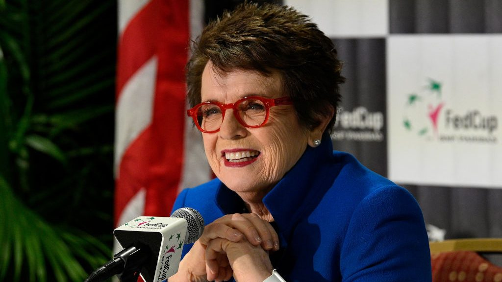 Billie Jean King speaks to media at the 2019 Fed Cup