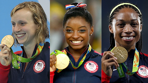 Katie Ledecky, Simone Biles, and Allyson Felix will be looking to add to their medal haul at the Tokyo Olympics