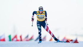 2018 Olympic gold medalist Jessie Diggins at a 2021 cross-country skiing World Cup stop in Ulricehamn, Sweden