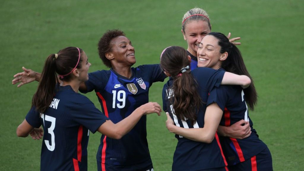 USWNT players, including Crystal Dunn and Christen Press, celebrate after the U.S. scores against Brazil at the 2021 SheBelieves Cup