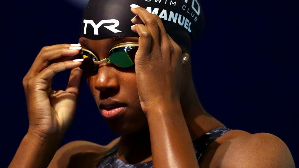 Swimmer Simone Manuel competing at the TYR Pro Swim Series in 2020