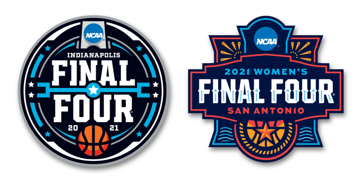 The official logos of the 2021 NCAA Division I Men's and Women's Basketball tournaments
