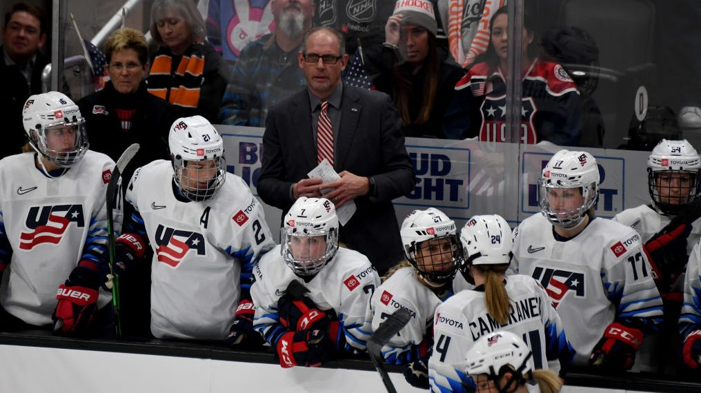 Head coach Bob Corkum of USA looks open against Canada in the second period of the Rivalry Series hockey game