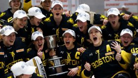 Boston Pride celebrates winning the 2021 Isobel Cup Championship