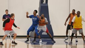 WNBA player Sylvia Fowles of the Minnesota Lynx plays against male practice players during a practice session in 2019