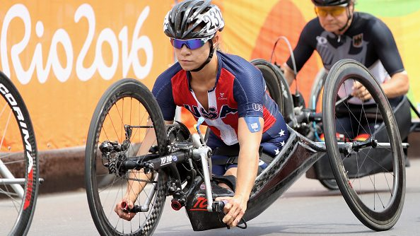 Oksana Masters cycling at the 2016 Rio Paralympics