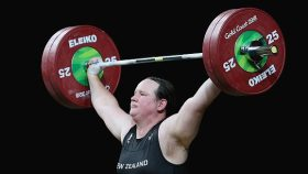 Weightlifter Laurel Hubbard competing at the 2018 Commonwealth Games
