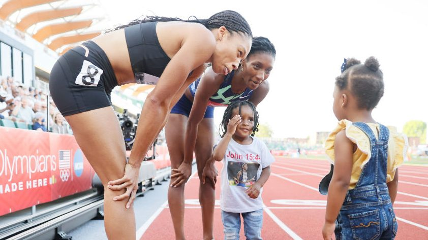 Allyson Felix and Quanera Hayes are just two of the moms on the U.S. Olympic team
