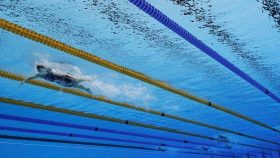 Katie Ledecky swimming at the Olympics in 2016