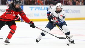 Kendall Coyne Schofield competing for the U.S. women's hockey team