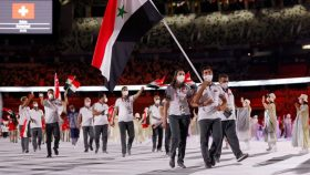 Hend Zaza, age 12, was one of Syria's flag bearers during the Opening Ceremony of the Tokyo Olympics