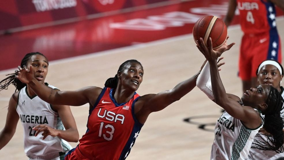 U.S. Women's Basketball Player Sylvia Fowles competing at the 2021 Tokyo Olympics