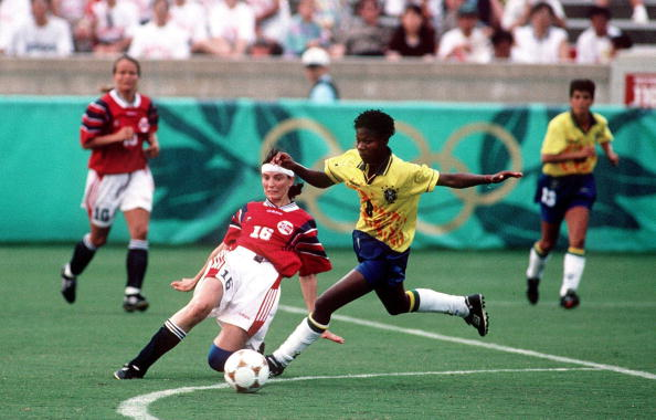 Formiga competing in the debut of women's soccer at the 1996 Atlanta Olympics. (Photo by Ruediger Fessel/Bongarts/Getty Images)