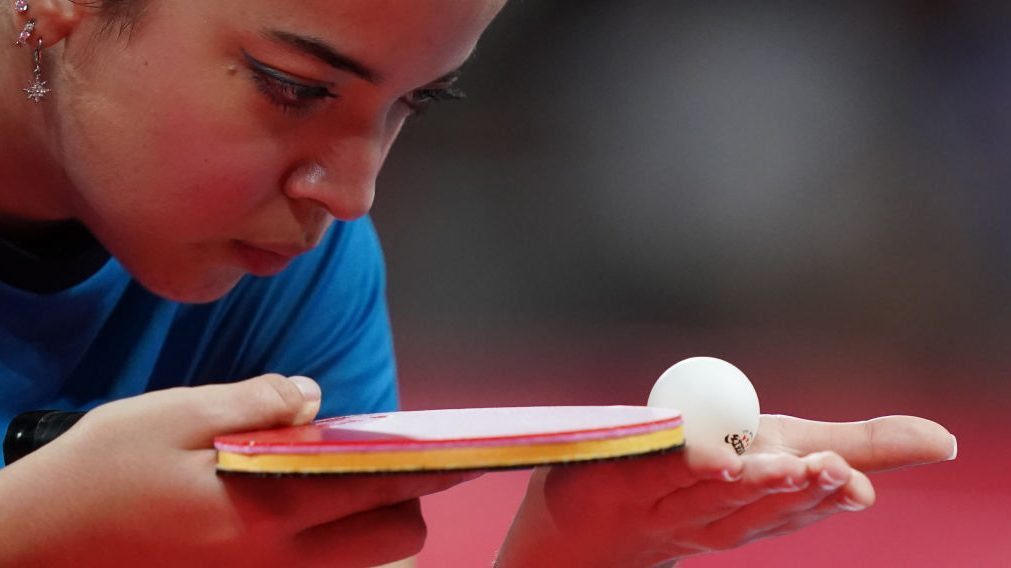 Lethicia Rodrigues Lacerda competes in table tennis at the 2020 Tokyo Paralympics