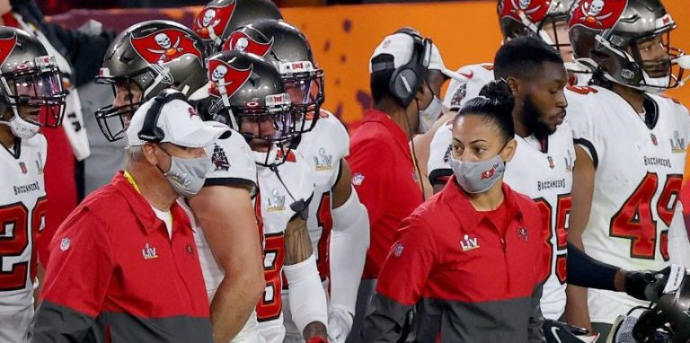 Assistant coaches Maral Javadifar and Ross Cockrell of the Tampa Bay Buccaneers look on during the fourth quarter of Super Bowl LV in Tampa, Florida.