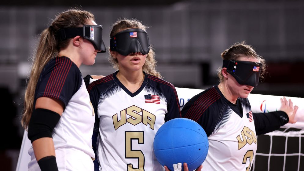 The US women's goalball team in conversation during the opening day of competition at the 2021 Tokyo Paralympics