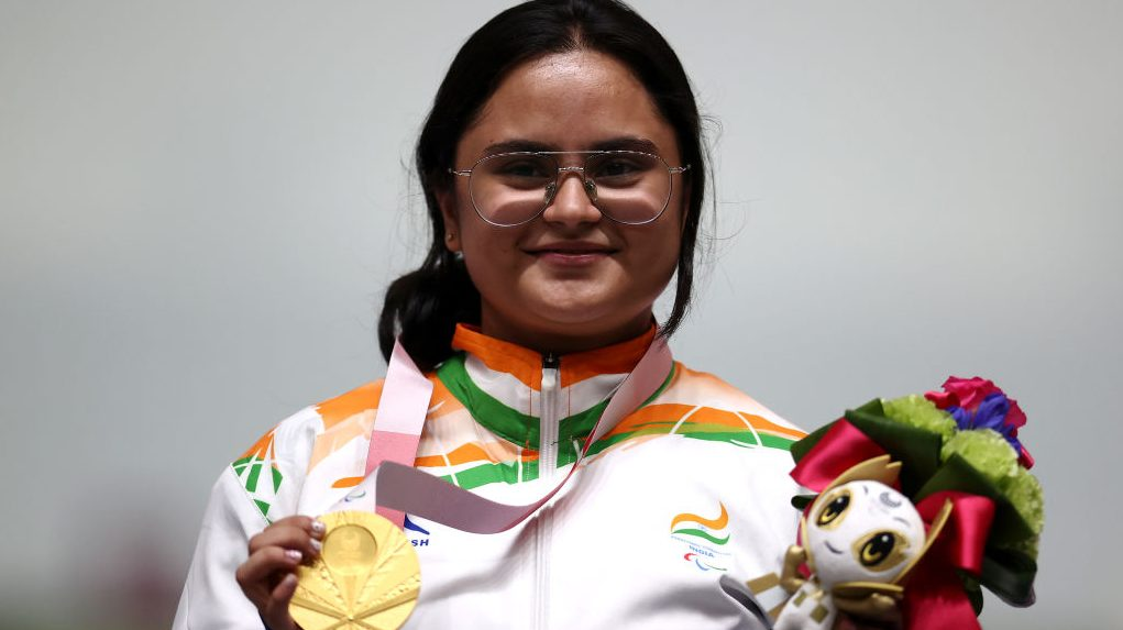Avani Lekhara of Team India poses with her gold medal after winning the R2 - Women's 10m AR Standing SH1 event at the 2021 Tokyo Paralympic Games.