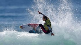 Carissa Moore competing at the 2021 Rip Curl Finals