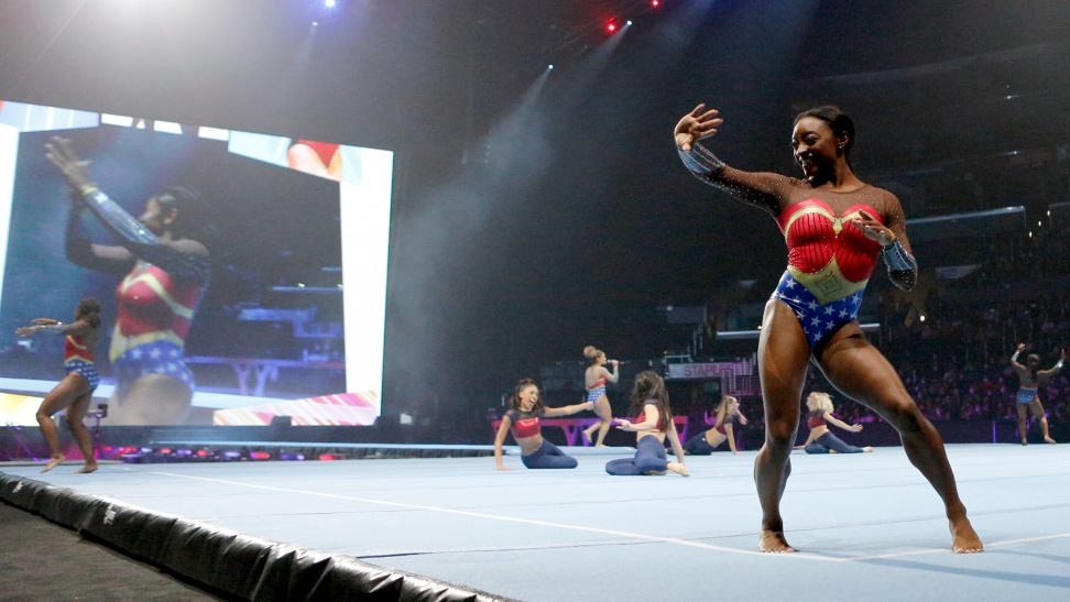 Simone Biles performs during the Gold Over America Tour