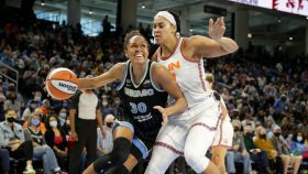 Azura Stevens #30 of the Chicago Sky drives to the basket against the Connecticut Sun during Game Three of the 2021 WNBA Semifinals on October 3, 2021 at the Wintrust Arena in Chicago, Illinois.