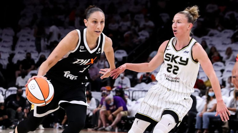 2021 WNBA Finals: Diana Taurasi #3 of the Phoenix Mercury drives past Courtney Vandersloot #22 of the Chicago Sky in the first half at Footprint Center on October 10, 2021 in Phoenix, Arizona